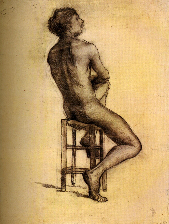 Dibujo de hombre desnudo sentado