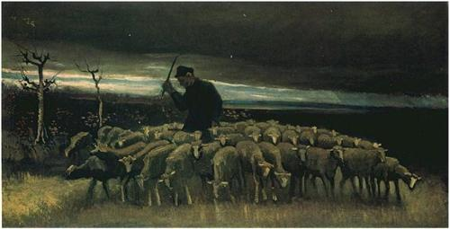 Shepherd with a Flock of Sheep - Vincent van Gogh