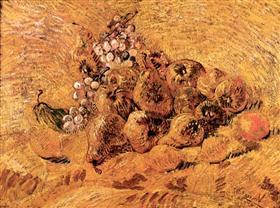 Todavía vida con las uvas, peras y limones, Vincent van Gogh