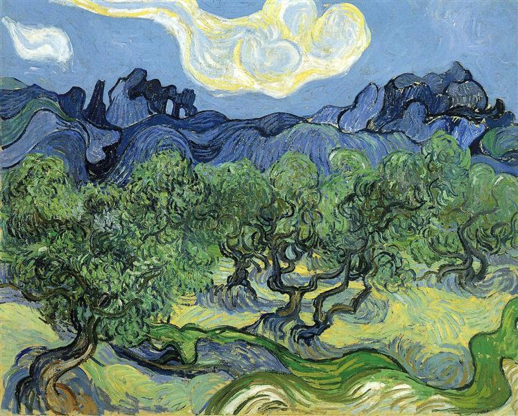 The Alpilles with Olive Trees in the Foreground, 1889 - Vincent van Gogh
