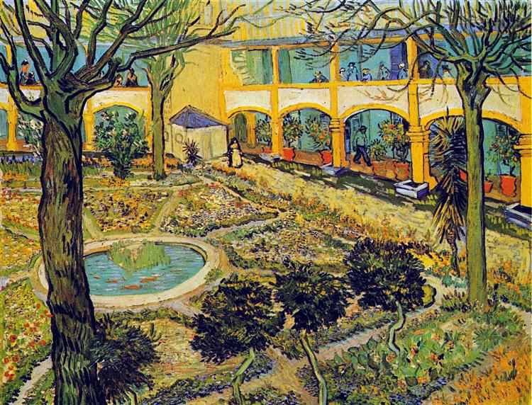 The Courtyard Of The Hospital In Arles 1889 Vincent Van Gogh Wikiart Org
