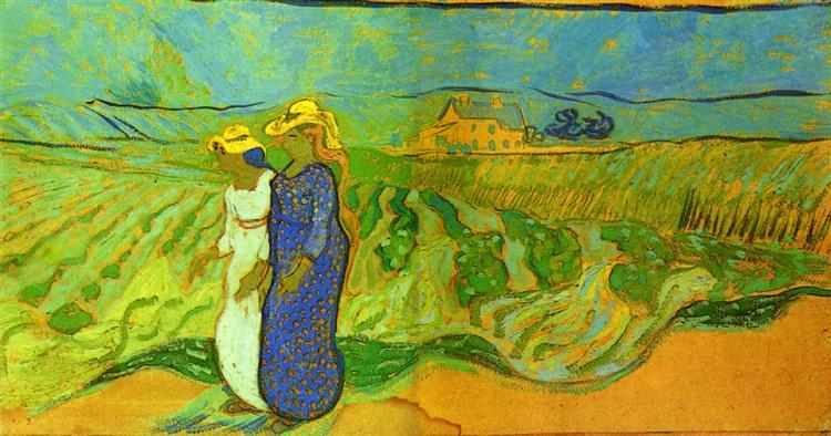 Two Women Crossing the Fields, 1890 - Vincent van Gogh