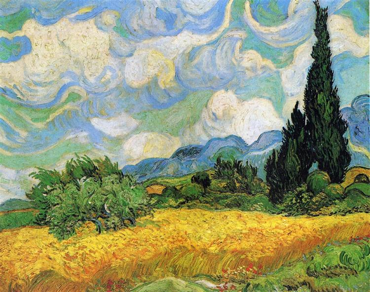 Wheat Field with Cypresses at the Haude Galline near Eygalieres, 1889 - Vincent van Gogh