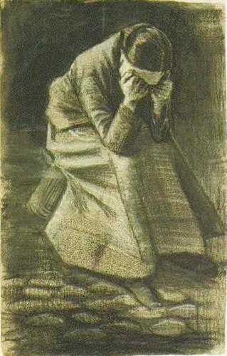 Woman Sitting on a Basket with Head in Hands - Vincent van Gogh