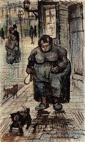 Mujer que camina su perro, Vincent van Gogh