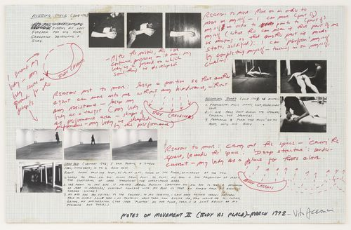 Notes on Movement II (Body as Place), 1972
