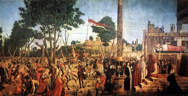 The Martyrdom of the Pilgrims and the Funeral of St. Ursula, from the St. Ursula Cycle, 1490-94, 1493 - Vittore Carpaccio