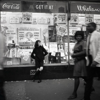 New York Woman Leaning On Storefront Window 1960