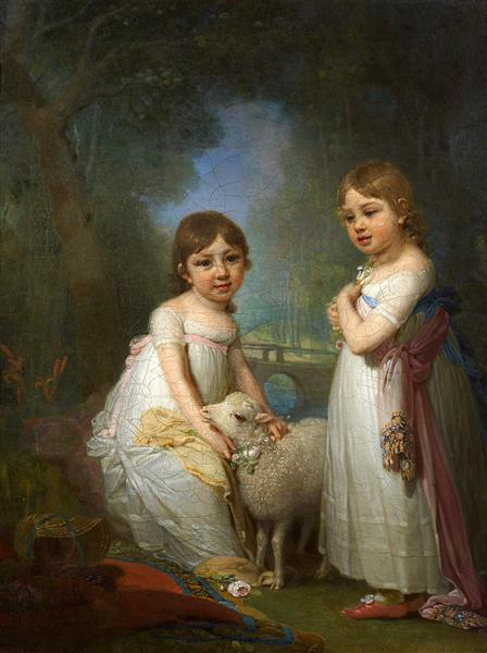 Children with a Lamb - Vladimir Borovikovsky