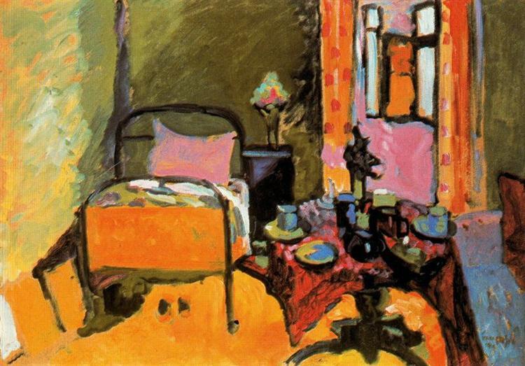 Bedroom in Aintmillerstrasse, 1909 - Wassily Kandinsky