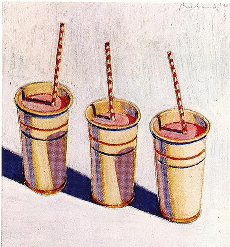 Three Strawberry Shakes - Wayne Thiebaud