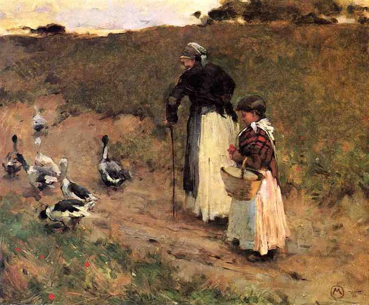 Old Woman with Child and Goose - Willard Metcalf
