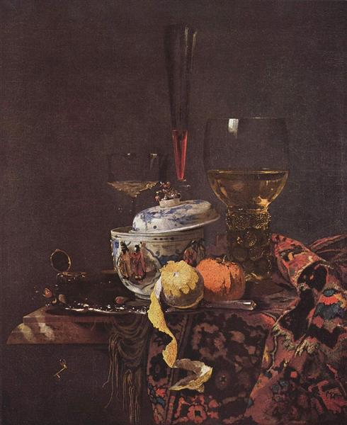 Still life with glassware and porcelain covered bowl - Willem Kalf