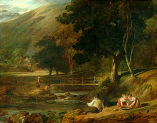 Borrowdale, Cumberland, with Children Playing by the Banks of a Brook  - William Collins