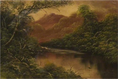 River Scene with Trees and Mountains - William Collins