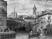 Boat scene at Milan, drawing by Leitch, engraving by T. Higham - Вільям Лейтон Лейтч