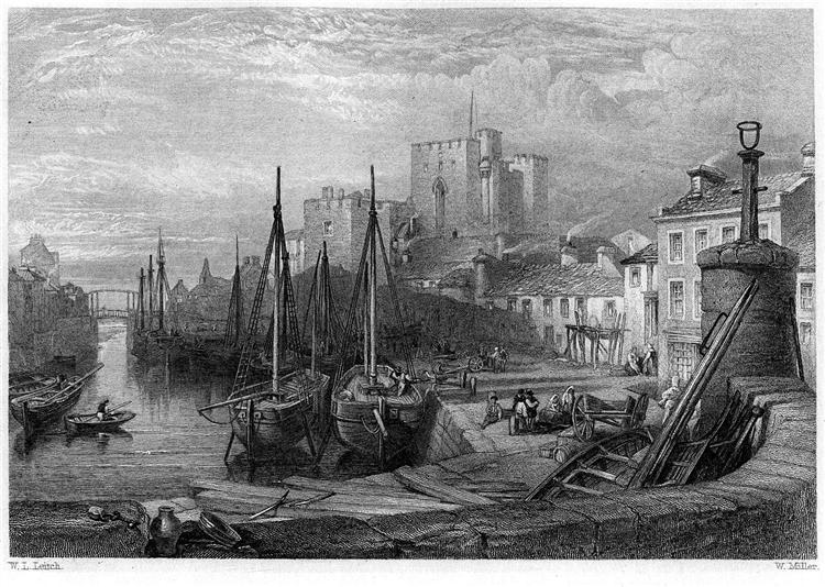 Castle Rushen, Castleton, Isle of Man, engraving by William Miller after Leitch, 1845 - William Leighton Leitch
