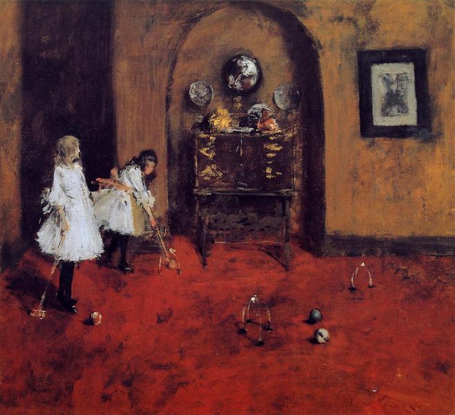 Children Playing Parlor Croquet (sketch), c.1888 - William Merritt Chase