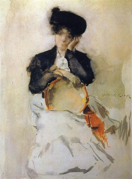 Girl with Tambourine, c.1886 - William Merritt Chase