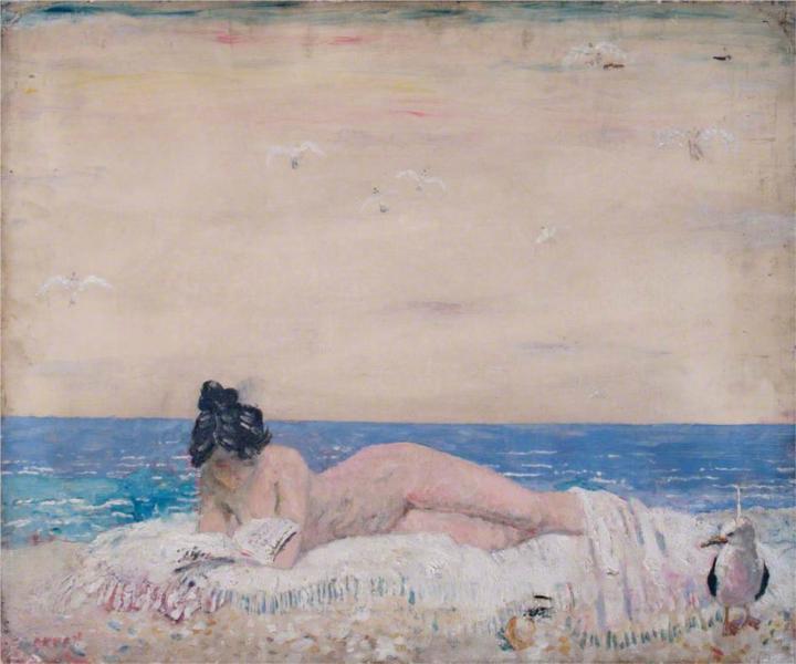 Nude Female Model (Reading On The Seashore), 1930 - William Orpen