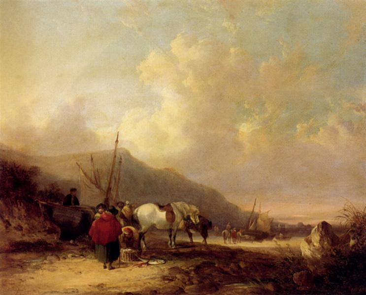A Busy Beach Scene - William Shayer