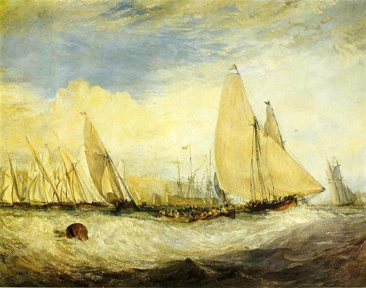 East Cowes Castle, the seat of J.Nash, Esq. the Regatta beating to windward, 1828 - J.M.W. Turner