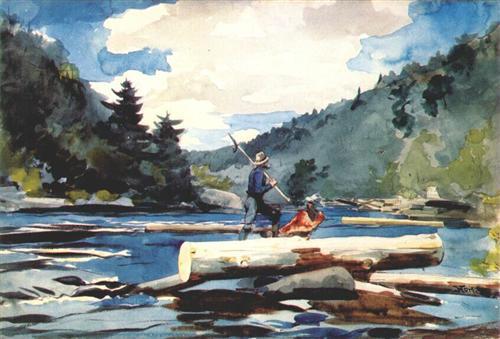 Hudson river, logging - Winslow Homer