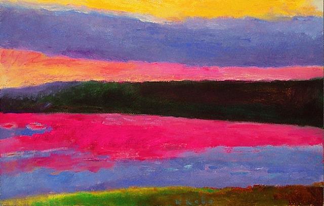 Gray Cloud Magenta Water #145, 1991 - Wolf Kahn