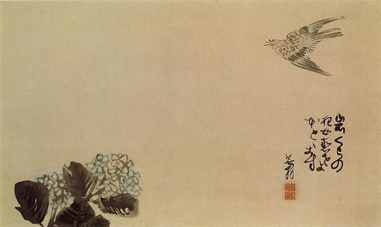 A little cuckoo across a hydrangea (Haiga) - Yosa Buson