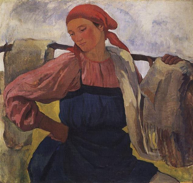 Peasant Woman (with rocker), 1916 - 1917 - Zinaida Serebriakova