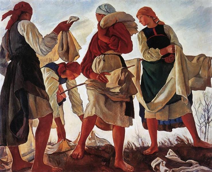 Whitening canvas, 1917 - Zinaida Serebriakova